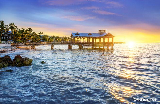 A ilha artificial de Sunset Key fica a mais ou menos 450 quilômetros da cidade de Key West