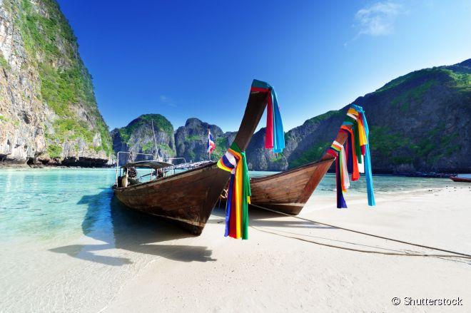 Maya Bay, em Koh Phi Phi, é um dos paraísos do sul da Tailândia