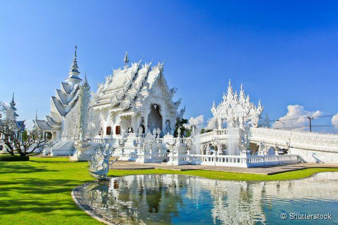 """O surpreendente Wat Rong Khun, conhecido como """"Templo Branco, próximo da cidade tailandesa de Chiang Rai"""