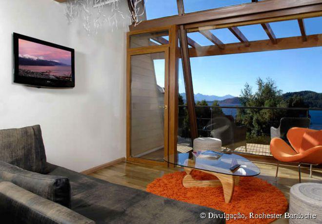Um dos espaçosos e confortáveis lofts do hotel Rochester Bariloche
